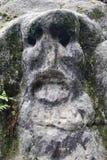 Tête en pierre effrayante Photos libres de droits