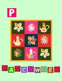TTea history. Letter P. Patchwork. Cute cartoon english alphabet with colorful image and word. Stock Photo