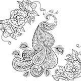 Tótem del pavo real de Zentangle en el colorante anti adulto de la tensión del flowersfor Fotos de archivo libres de regalías