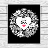 TTemplate with Zen-doodle style pattern and heart frame black and white Stock Image