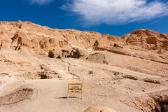 A. Ttention - Climbing the mountins is not llowed wrning sign t the Hpshepsut Temple complex in Luxor, Egypt stock photo
