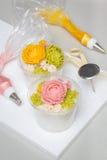 Tteok, koreański ryżowej mąki dekatyzujący tort z bobową pasty dekoracją Zdjęcia Stock