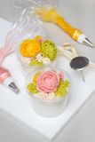 Tteok, korean rice flour steamed cake with bean paste decoration Stock Photos