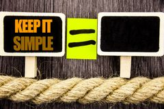 Ttext showing Keep It Simple. Business concept for Simplicity Easy Strategy Approach Principle written on Blackboard Equation spac Royalty Free Stock Images