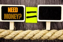 Ttext showing Need Money Question. Business concept for Economic Finance Crisis, Cash Loan Needed written on Blackboard Equation s. Ttext showing Need Money Royalty Free Stock Photo