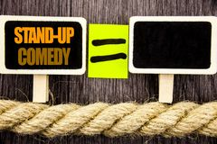 Ttext showing Stand Up Comedy. Business concept for Entertainment Club Fun Show Comedian Night written on Blackboard Equation spac royalty free stock photos