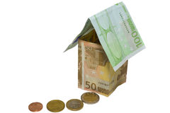 Tthe house from euro and coins Stock Image