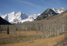 Tthe Maroon Bells wilderness in the late autumn. Royalty Free Stock Photography