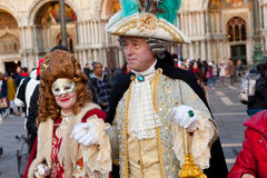Tthe Venetian carnival 2015. Venice, Italy - February 01, 2015: The city in celebration during the famous carnival. Masks have always been an important feature Royalty Free Stock Image