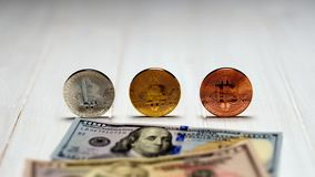 Tthee of bitcoin coins with dollar bills