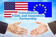 TTIP、横渡大西洋的贸易和投资合作 在欧盟和美国之间的联盟 库存图片