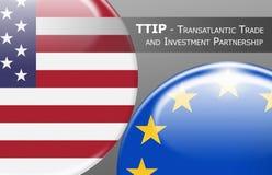 TTIP -横渡大西洋的贸易和投资合作 向量例证