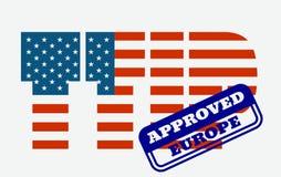 TTIP -横渡大西洋的贸易和投资合作 库存照片