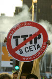 TTIP GAME OVER activist in action during a public demonstration Royalty Free Stock Image