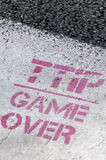TTIP GAME OVER signs during a public demonstration in Brussels. Stock Photos