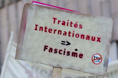 TTIP GAME OVER signs during a public demonstration in Brussels. Royalty Free Stock Images