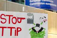 TTIP GAME OVER signs during a public demonstration in Brussels. Royalty Free Stock Photography