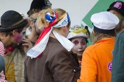 TTIP-SPIEL ÜBER Aktivisten in der Aktion während einer allgemeinen Demonstration Stockfotografie