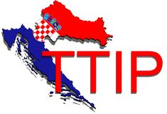 TTIP - Transatlantic Trade and Investment Partnership on Croatia map Royalty Free Stock Images