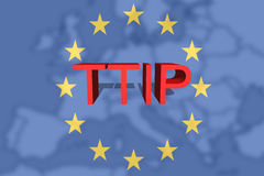 TTIP - Transatlantic Trade and Investment Partnership on Euro Union background Stock Photo