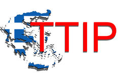 TTIP - Transatlantic Trade and Investment Partnership on Greece map Royalty Free Stock Photos