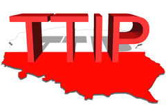 TTIP - Transatlantic Trade and Investment Partnership on Poland map background Royalty Free Stock Image