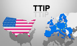 TTIP USA and Europe Royalty Free Stock Photos
