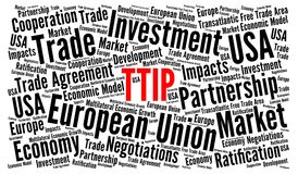TTIP word cloud concept stock illustration