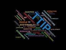 TTIP - word cloud wordcloud - terms from the globalization, economy and policy environment Stock Images