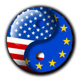 TTIP. Yin and Yang with flags of United States and European union - Metaphor of TTIP - Transatlantic trade and investment partnership between USA and EU. Harmony vector illustration