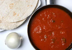 Ttomato sauce with tortilla Stock Image