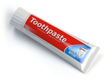 Ttoothpaste containers on white isolated background. Stock Images