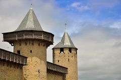 Ttowers in the medieval fortified city of Carcassonne. Alignment of towers in the medieval fortified city of Carcassonne. Carcassonne is located in the Aude Royalty Free Stock Photo