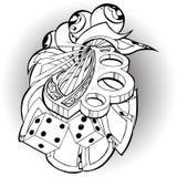 Tätowierungsknochen und Spielkarten Stockbilder