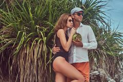 Attractive couple, holds coconut with a tube, posing on a beach near palm bush, enjoys a vacation on a beautiful island. An ttractive couple, holds coconut with Stock Photo