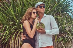 Attractive couple, holds coconut with a tube, posing on a beach near palm bush, enjoys a vacation on a beautiful island. An ttractive couple, holds coconut with Stock Photos
