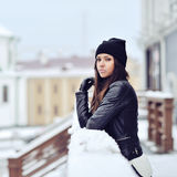 Ttractive young woman in wintertime outdoor Royalty Free Stock Photos