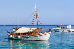 TTraditional Greek boats at the coast of Crete Royalty Free Stock Image