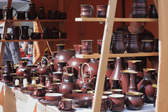 Ttraditional  market with handmade ceramic in Kunstat. Stock Photos
