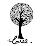 Ttree с птицами на белой предпосылке Стоковое Фото