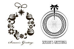 Ttwo Christmas Black - white  wreaths Stock Photos