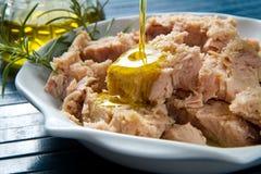 Tuńczyk ryba w oleju, konserwować jedzenie. Zdjęcie Royalty Free