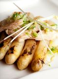 Tuńczyk z asparagusem na talerzu zdjęcie stock