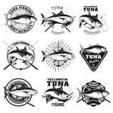 Tuńczyka połowu etykietki odizolowywać na białym tle elementy projektu podobieństwo ilustracyjny wektora ilustracja wektor