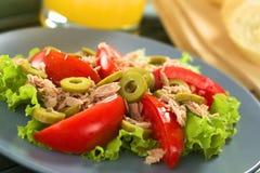 Tuńczyka, Pomidorowej i Zielonej oliwki sałatka, Zdjęcia Stock