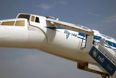 TU-144 αεροπλάνο στο διεθνές αεροδιαστημικό σαλόνι MAKS Στοκ φωτογραφία με δικαίωμα ελεύθερης χρήσης