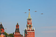 Tu-160 airplanes fly over Red Square Royalty Free Stock Image
