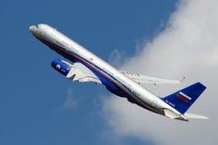 Tu-214. ZHUKOVSKY, RUSSIA - AUGUST 19: Tu-214OH airliner used in Open Skies treaty flies during MAKS-2011 airshow on August 19, 2011 in Zhukovsky, Russia Royalty Free Stock Images