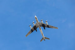Tu-95. `Bear` strategic bomber performs at airshow 21 March 2015, Rostov-on-Don Royalty Free Stock Photos