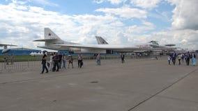 Tu-160 `Blackjack` supersonic strategic bomber at MAKS-2017. ZHUKOVSKY, RUSSIA - JULY 19, 2017: Tu-160 `Blackjack` supersonic strategic bomber at MAKS-2017 stock video footage